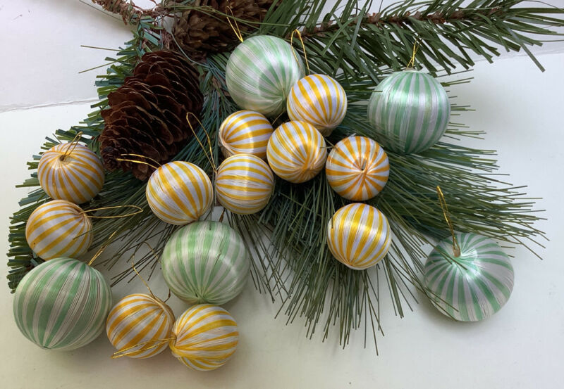 VTG Lot of 16 Green White Yellow Striped Satin Christmas Ball Ornaments