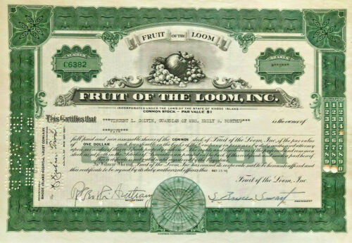Fruit of the Loom > Berkshire Hathaway underwear company green stock certificate