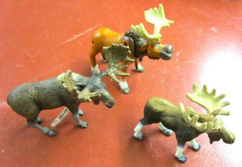 Schleich 2009 Moose animal figurine with 2 bonus figures
