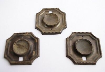 Lot of 3 Antique Brass Rectangular Drawer Furniture Pull Handle Bases 2