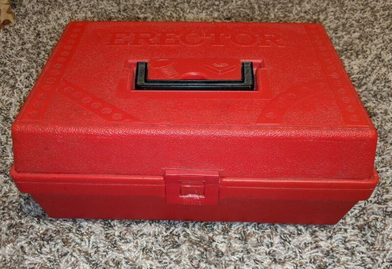 Vintage Gilbert Erector Set Parts Red Plastic Case Partial Pieces 70