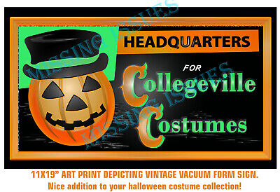 "Collegeville Costume Vintage Sign 11x19"" Art Print ~ Halloween ~"