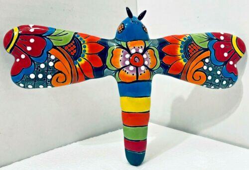 "Mexican Talavera Pottery Wall Hanging Dragonfly Large 12"" Folk Art"