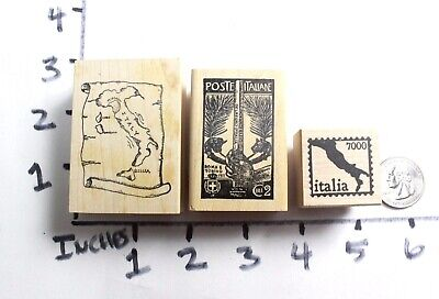 Wooden RUBBER STAMP Lot Italy Italian Map Travel  ()