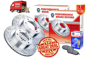 TOYOTA-Landcruiser-60-series-SLOTTED-DRILLED-FRONT-Disc-Rotors-2-Pads-1