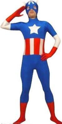 Mens Captain America Skin Body Suit The Avengers Super Hero Costume All Sizes