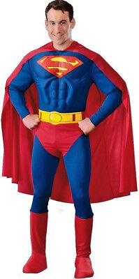 Mens Superman Muscle Chest Superhero Fancy Dress Costume All Sizes