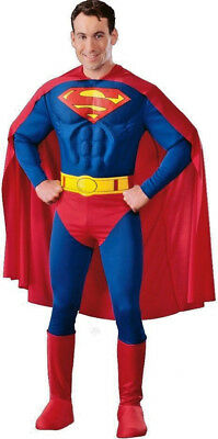 Mens Superman Muscle Chest Superhero Fancy Dress Costume All Sizes - Superman All Costumes