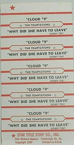 "JUKEBOX TITLE STRIP SHEET - THE TEMPTATIONS ""Cloud 9"" Gordy 7081"