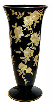 "Cambridge Blossom Time Black / Ebony #278 - 10 3/4"" Vase with Gold Trim- RARE"