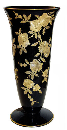 "Cambridge Blossom Time Black / Ebony #278 - 10 3/4"" Vase with Gold Trim- RARE"