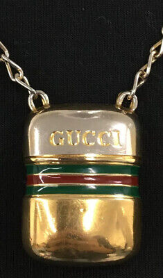 auth vintage old gucci gold chain gg logo cologne wide thick necklace keychain