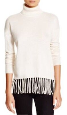 C By Bloomingdales 100  Cashmere Fringe Turtleneck Sweater Offwhite Xs  198 New