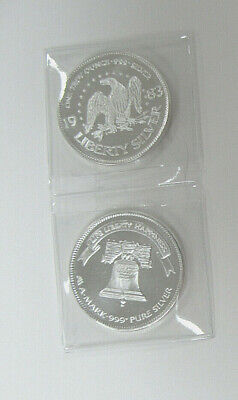 TWO 1983 US 1 oz .999 SILVER ROUNDS by A-MARK - Patriotic EAGLE and LIBERTY BELL