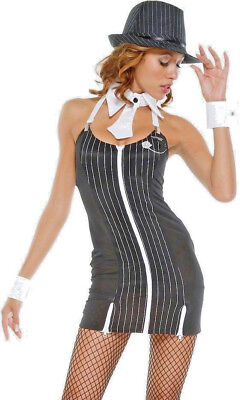 1920s Female Gangster Costume (Womens Pinstripe Mobster Gangster 1920s 1930s Ladies Fancy Dress Costume 12 -)