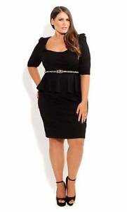 City Chic Black Peplum Dress XS (size 14-16) Hamersley Stirling Area Preview