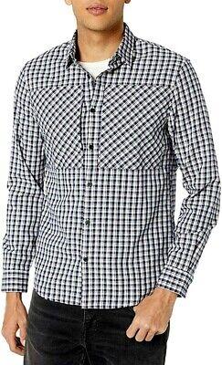 A|X Armani Exchange Men's Cotton Check Long Sleeve Button Down Shirt Paneled
