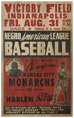 Negro League Baseball POSTER - Satchel Paige Amazing & RARE Image - Goose Tatum