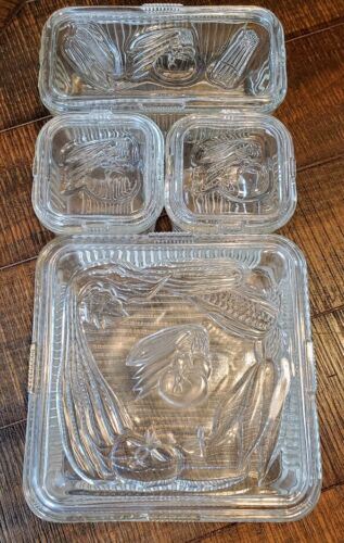 Anchor Hocking Clear Glass Refrigerator Dish set Lg Square, Small Sq, Rectangle