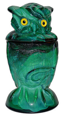 Summit from Imperial Owl Malachite Green Slag Covered Jar - Scarce Color