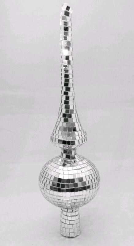 "Silver Tree Topper Finial Spire Mirror Mosaic Christmas 12"" Kurt Adler"