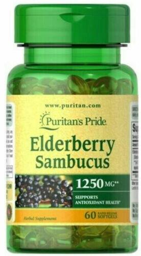 ELDERBERRY SAMBUCUS COLDS FLU IMMUNE HEALTH 1250mg 60 Softgels PURITAN