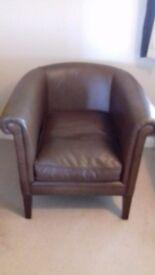 Laura Ashley leather tub chair