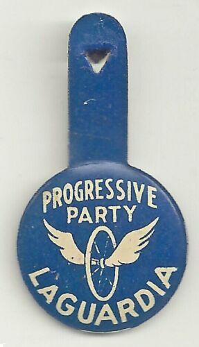 Progressive Party LaGuardia Litho Campagn Tab ~ Wheel & Wings ~ 99th NYC Mayor