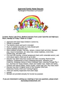 1 Space Available in Approved Family Home Daycare