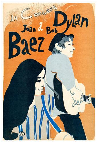 Bob Dylan and Joan Baez vintage concert poster reprint