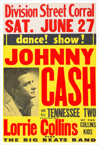 Johnny Cash early concert poster print