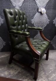 Beautiful Chesterfield Large Gainsborough Chair Green Leather Delivery