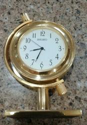 VINTAGE GOLD SEIKO QHG354GLH DESK, SHELF CLOCK, NEW BATTERY