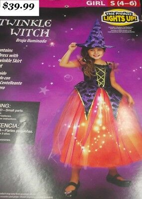 The Good  Witch / Girls Lights up Fancy Dress  2 pc Set - Hat & Dress  (Girls Witch Hat)