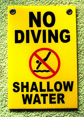 No Diving Shallow Water W Symbol 8 X12 Plastic Coroplast Sign W Grommets Y
