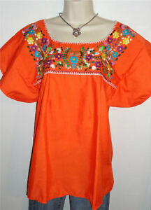 Peasant Vintage Tunic Embroidered Mexican Blouse Top  Assorted Colors