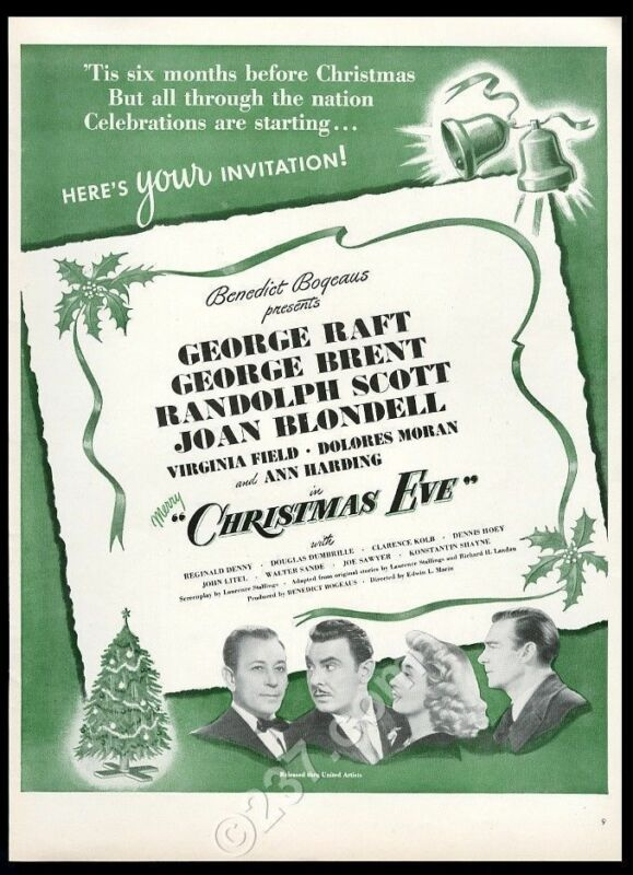 1947 Christmas Eve movie release George Raft Joan Blondell pic vintage print ad