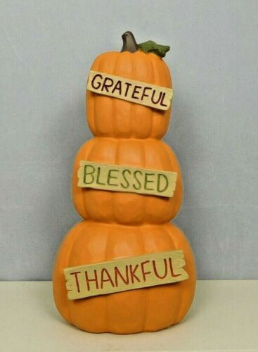Stacked pumpkins with words on the front of them  - New by Blossom Bucket #12909
