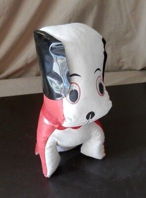 "Vintage 10"" Hospital Autograph Red & White Cloth Plush Stuffed Dog 1950""s 1960's"