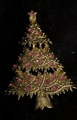 Pink / Rose Signed Eisenberg Ice Christmas Tree Pin Christmas Tree Ice