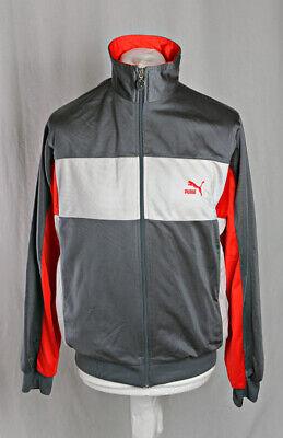 "PUMA Vintage Retro Track Jacket Size Large (40"") Grey Red White Block VGC!"