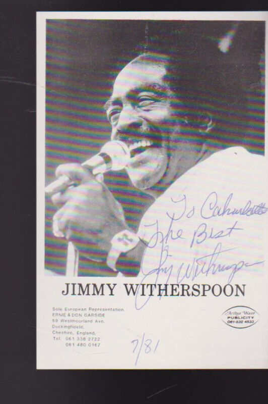 Jimmy Witherspoon Jazz Artist Signed Picture 1981 Inscribed
