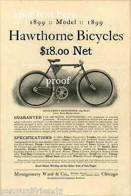 Vintage Bicycle Ad Hawthorne Bike Montgomery Ward Usa 1899