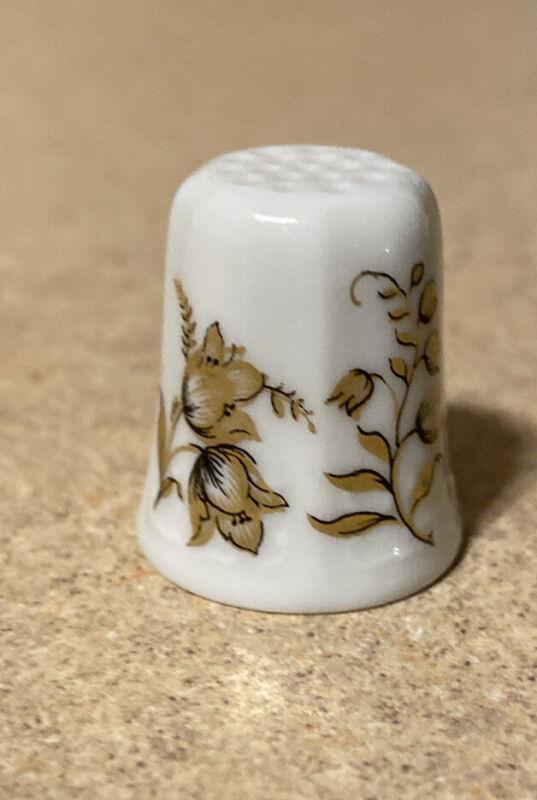 Vintage Thimble - H&Co Bavarian West Germany Gold Floral Porcelain