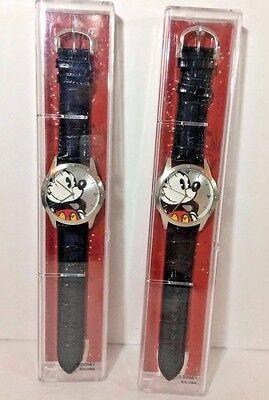Lot of 2 Disneyland Resort Mickey Mouse Wrist Watch Black Leather