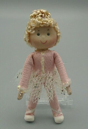 """Curly Blonde Haired Ballerina in a Pink Sparkly Tutu Mini Handmade Doll 1.75"""""""