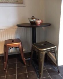 Small dining Pedestal table & 2 stools