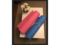 Yoga matts pink and blue beginners