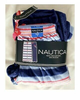NWT - Nautica Girls Super Soft 2 Pairs Of Pajama Pants - Size 8