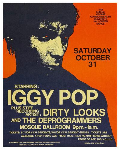 Iggy Pop 1981 concert poster print